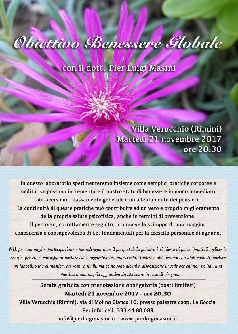 Serata gratuita di Obiettivo Benessere Globale a Villa Verucchio (Rimini) – Novembre 2017